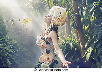 fantasia, quadro, de, a, exoticas, mulher