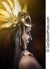 fantasia, rainha, jovem, com, dourado, máscara, antiga,...