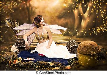 fantasia, retrato, com, asas