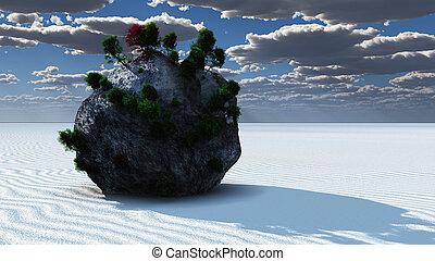 fantasia, rocha, ilha