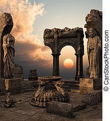 fantasia, ruínas, templo