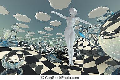 fantasia, scacchiera, paesaggio