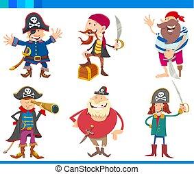 fantasia, set, cartone animato, caratteri, pirati