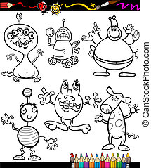 fantasia, set, cartone animato, libro, coloritura