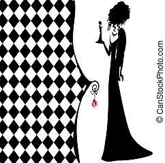 fantasia, signora, fondo, nero