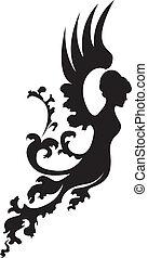 fantasia, silhouette, angelo
