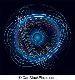 fantasia, sphere., navigazione, spazio