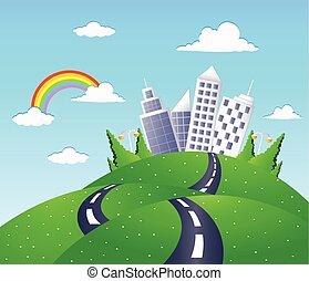 fantasia, strada, paesaggio