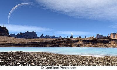 fantasia, straniero, planet., pietre, e, lake., 3d, illustrazione