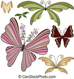 fantasia, strisce, set, farfalle