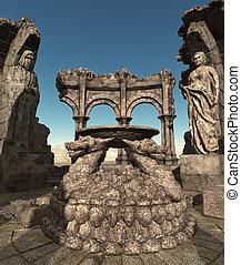 fantasia, tempio, rovine