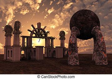 fantasia, templo, ruínas