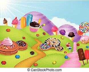 fantasia, terra, cartone animato, dolce