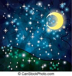 fantasia, tribal, noturna, fundo, lua