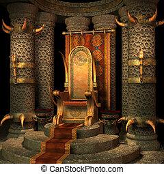 fantasia, trono, sala