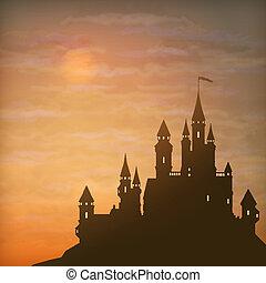fantasia, vetorial, castelo, luar, céu