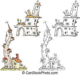 fantasia, vetorial, ilustração, casas