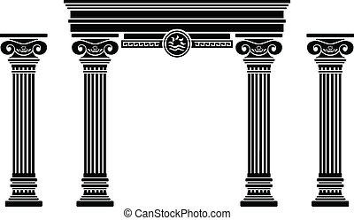 fantasie, aftekenmal, boog, columns.