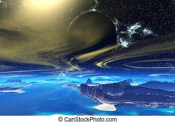fantasie, ausländer, planet., steinen, und, mond