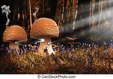 fantasie, bild, von, giftpilz, häusser, in, hasenglöckchen, wälder