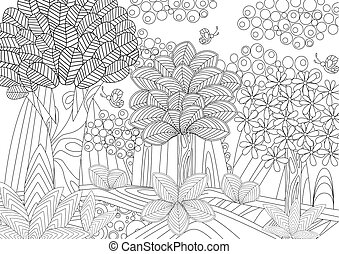 fantasie, boek, kleuren, bos