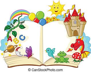 fantasie, boek, spotprent
