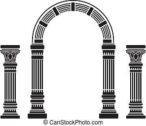 fantasie, boog, en, columns., aftekenmal