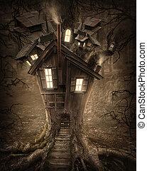 fantasie, boom huis