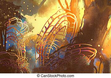 fantasie, bos, met, abstract, bomen