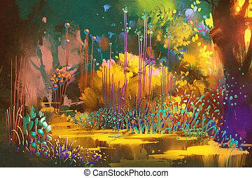 fantasie, bos, met, kleurrijke, planten