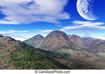 fantasie, bunte, landschaftsbild