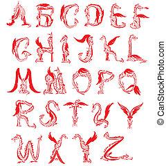 fantasie, feuerdrachen, alphabet, schriftart