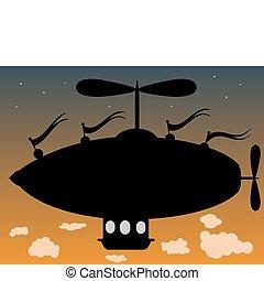 fantasie, fliegendes, wolkenhimmel, luftschiff, oben
