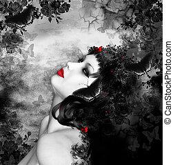 fantasie, frau, mit, vlinders