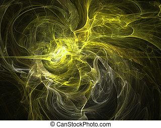 fantasie, gele, chaos, abstract, fractal, effect, licht, achtergrond