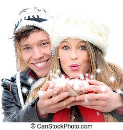 fantasie, glücklich, winter, paar, blasen, a, weihnachten, wunsch