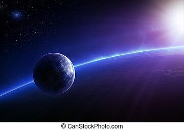 fantasie, kleurrijke, aarde, zonopkomst, maan