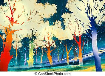 fantasie, kleurrijke, bos, bomen