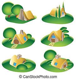 fantasie, land, huizen