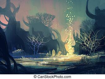 fantasie, landschaftsbild, mit, a, mysteriös, bäume