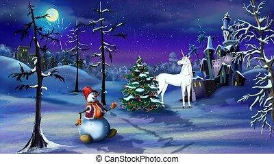 fantasie, magisches, weihnachten, einhorn