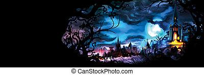 fantasie, mittelalterlich, cityscape, banner