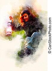 fantasie, mooie vrouw, met, licht, lampen, en, softly, vaag, watercolor, achtergrond.