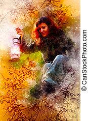 fantasie, mooie vrouw, met, licht, lampen, en, versieringen, en, softly, vaag, watercolor, achtergrond.