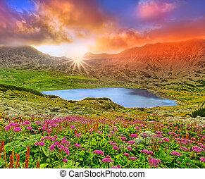 fantasie, ondergaande zon , landscape, met, berg, en, lake.