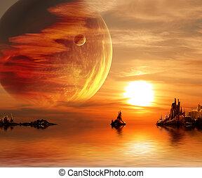 fantasie, ondergaande zon