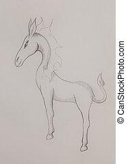 fantasie, paarde, schepsel, potlood tekenen, op, abstract, achtergrond