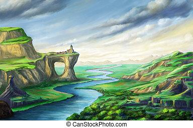 fantasie, rivier landschap