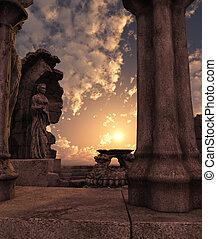 fantasie, ruinen, tempel