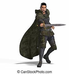 fantasie, schurk, met, zwaard